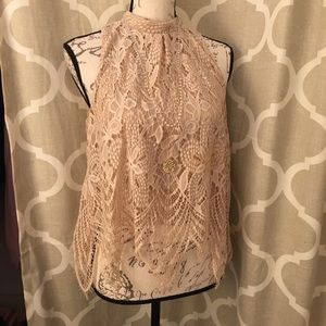 Lacy Flowy High Neck Top
